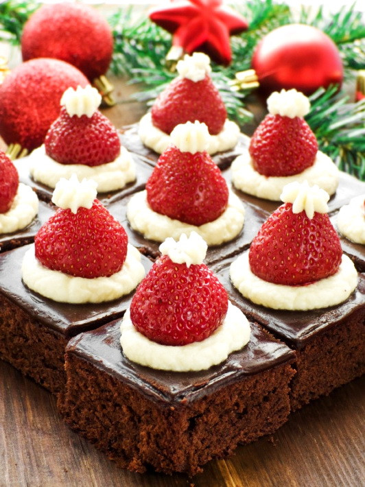 Christmas Dessert Ideas For Party  Santa Hat Mini Brownies – Healthy Christmas Party Dinner