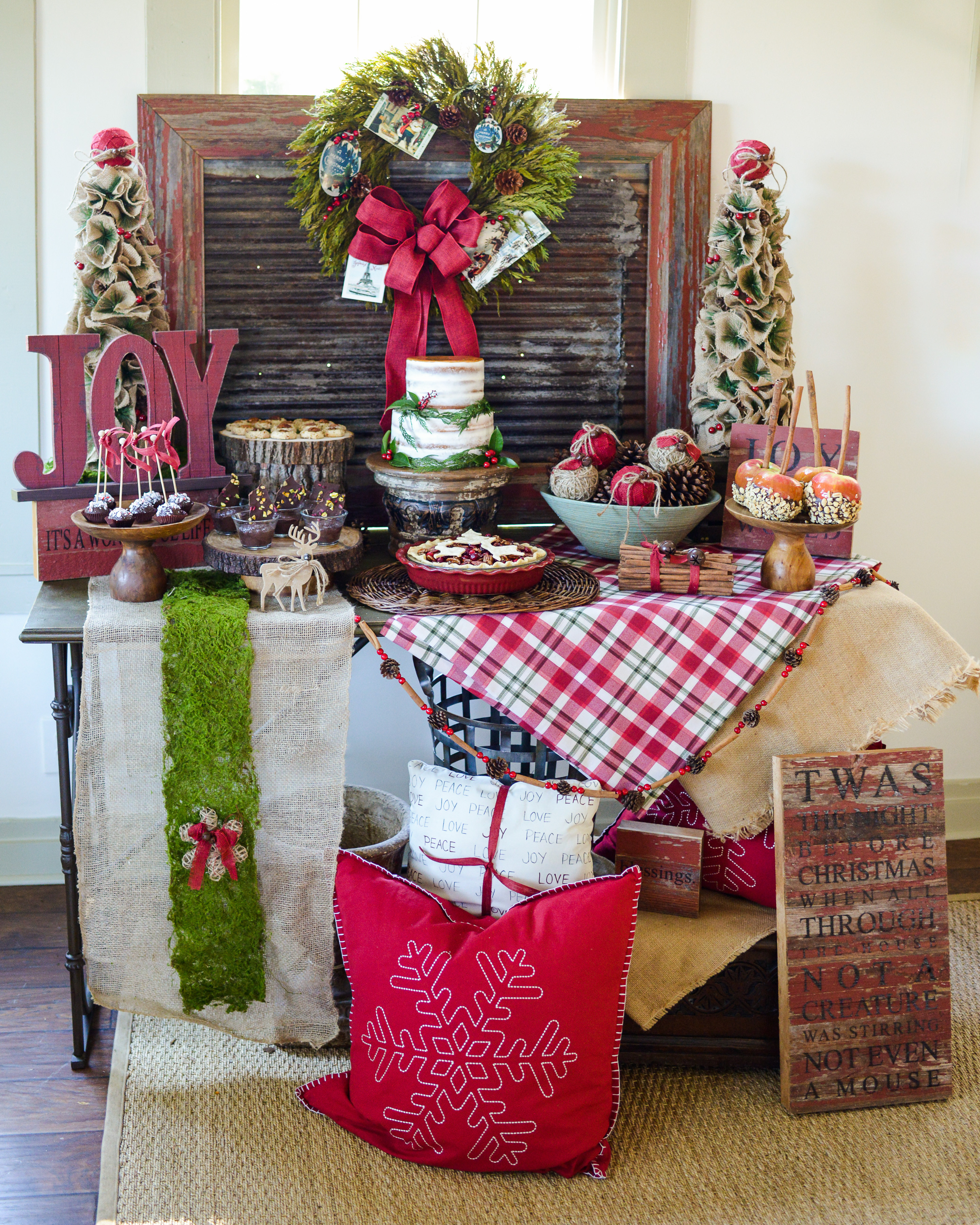 Christmas Dessert Table  JOYful and Rustic Christmas Dessert Table