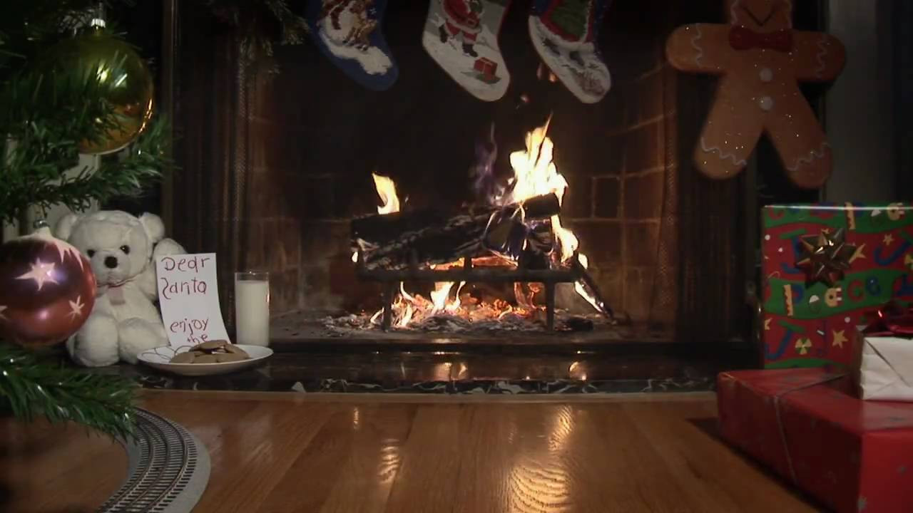 Christmas Fireplace Music  Holiday Video Fireplace with Christmas Tree and Model