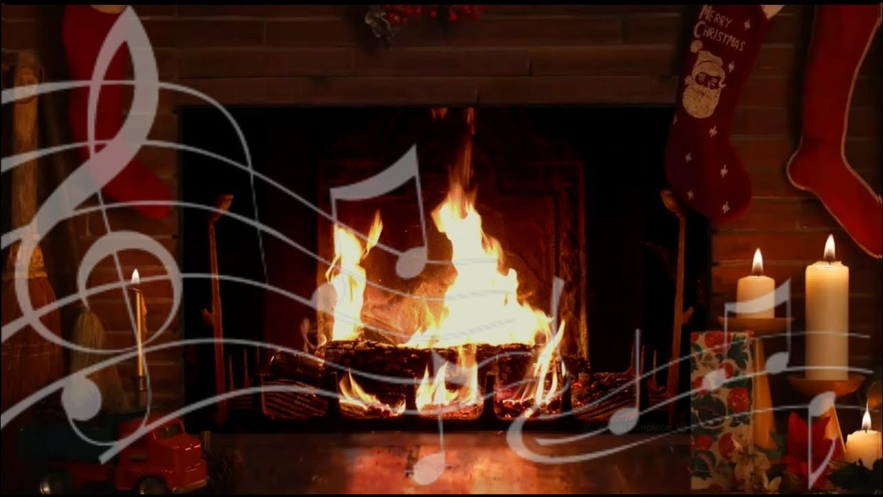 Christmas Fireplace Music  Cozy Yule Log Fireplace with Crackling Christmas Music