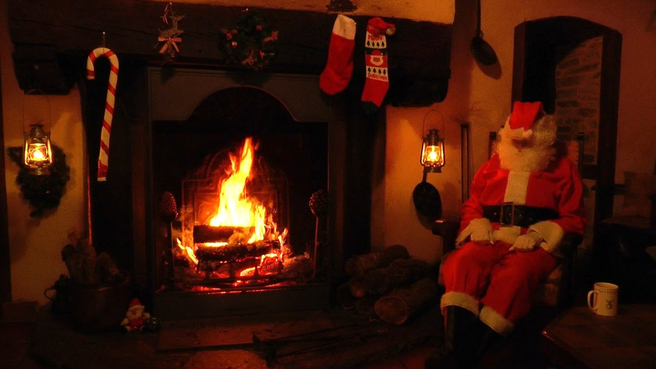 Christmas Fireplace Music  Crackling Fireplace Scene with Santa and Relaxing