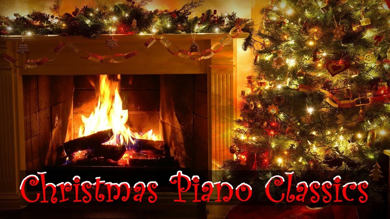 Christmas Fireplace Music  Christmas Piano Music with Decorated Crackling Fireplace