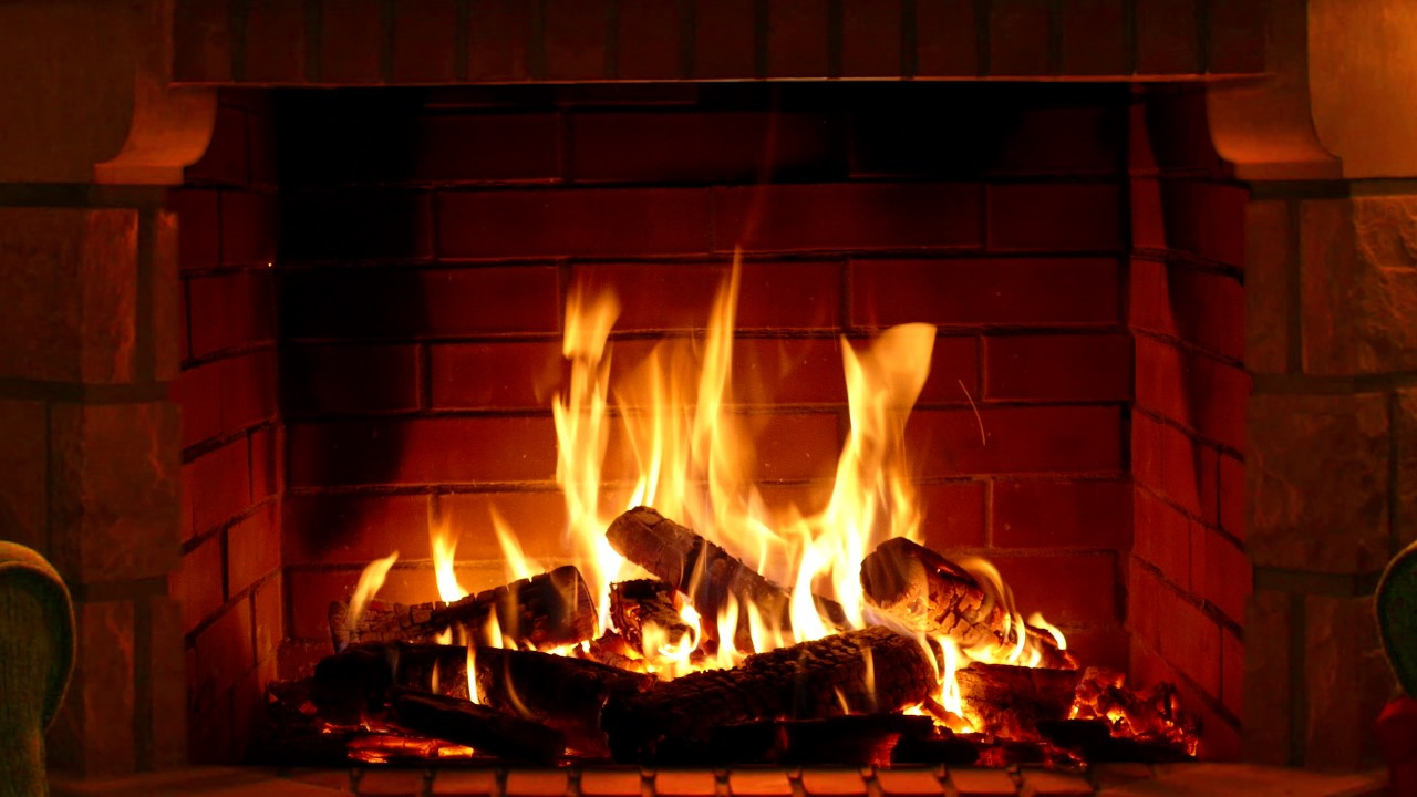 Christmas Fireplace Music  Fireplace Full HD and 4K 3 hours crackling logs for