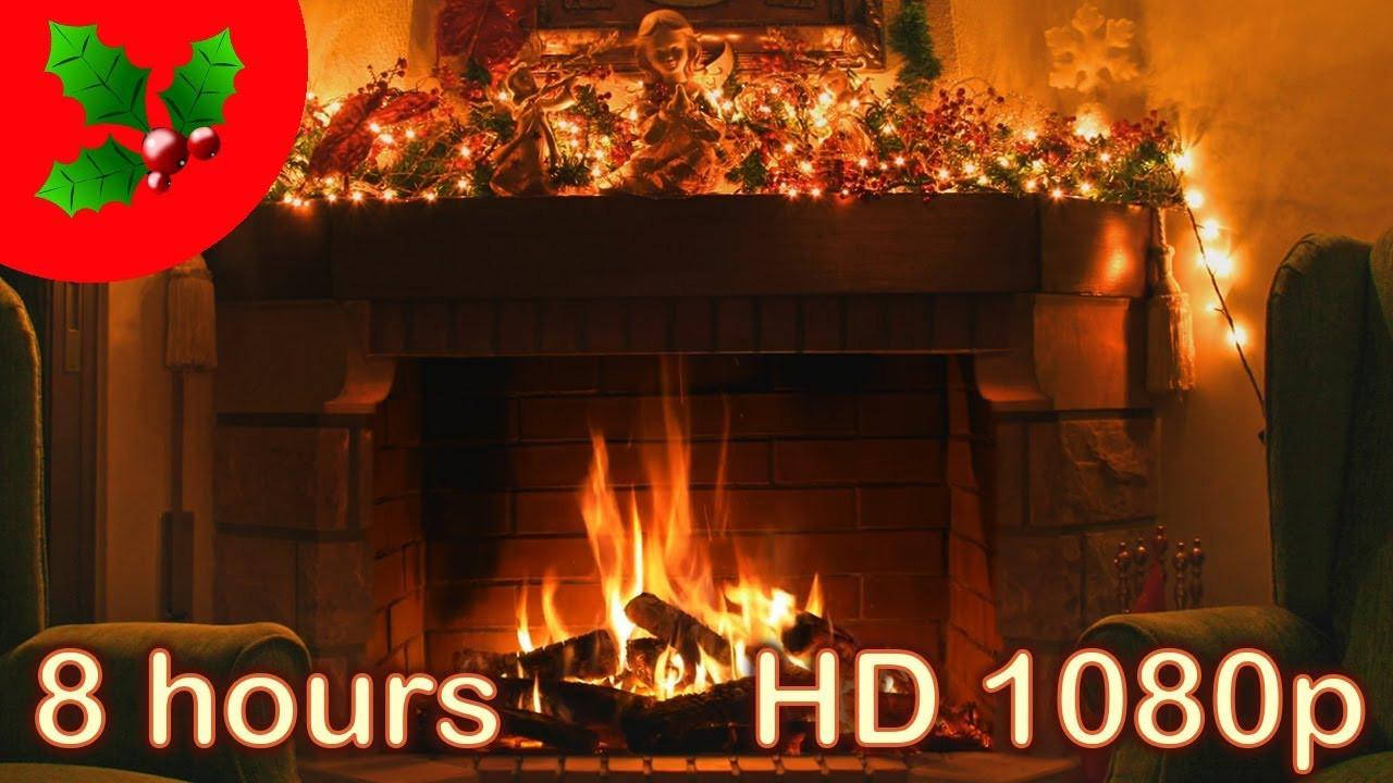 Christmas Fireplace Music  8 HOURS ☆ CHRISTMAS MUSIC FIREPLACE ♫ Solo PIANO