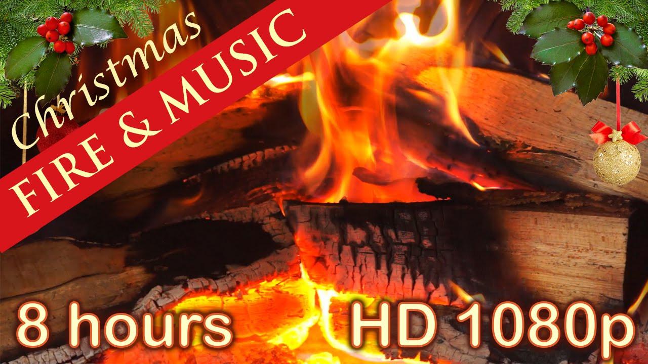 Christmas Fireplace Music  8 HOURS ☆ CHRISTMAS MUSIC with FIREPLACE ♫ Christmas Music