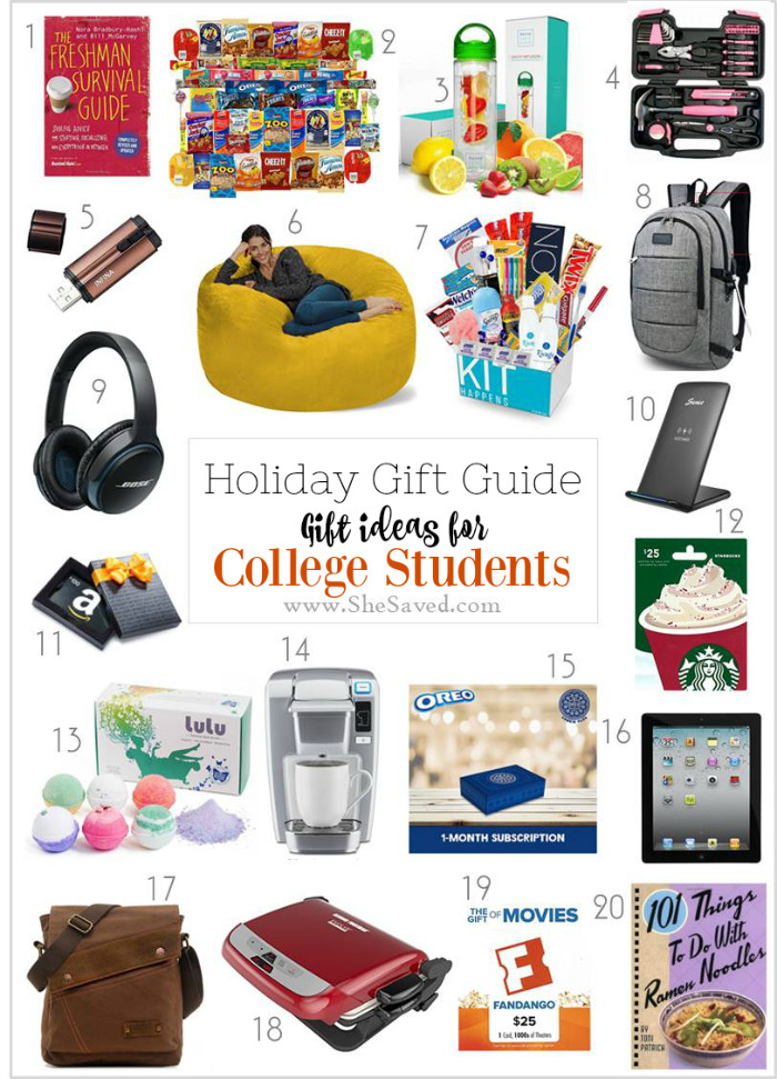 Christmas Gift Ideas For College Student  HOLIDAY GIFT GUIDE Gifts for College Students SheSaved