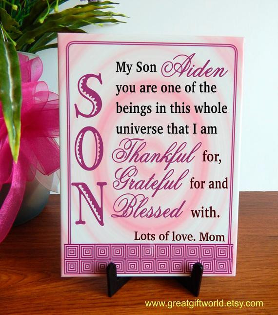 Christmas Gift Ideas Son  Christmas Gift to Son from Mother Custom Gift to a Special