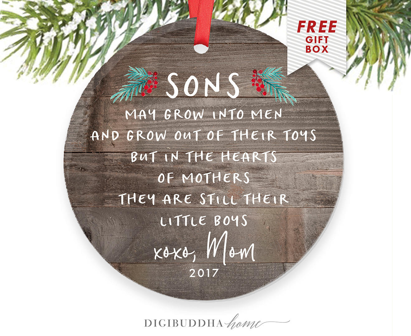 Christmas Gift Ideas Son  Gift For Son From Mom Personalized Christmas Ornament for Son
