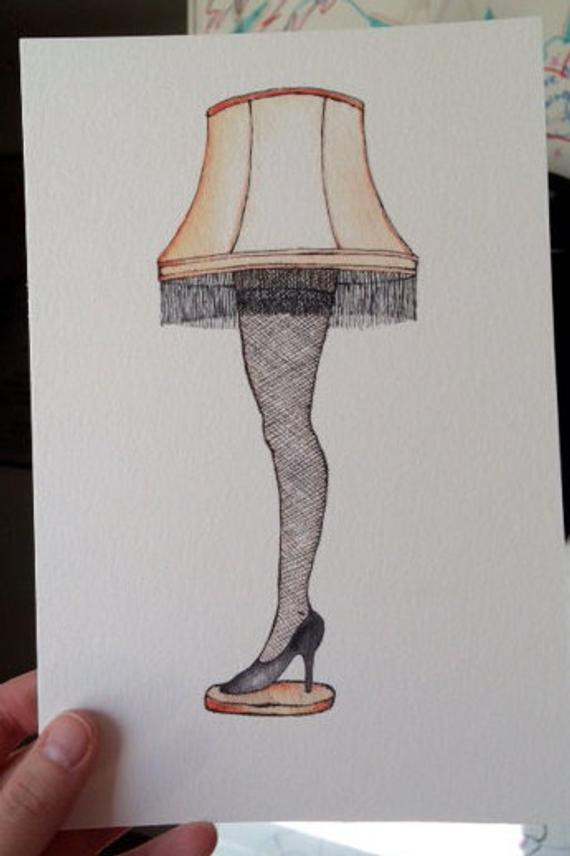 Christmas Leg Lamp Full Size  Watercolor Ink Realism A Christmas Story Leg by