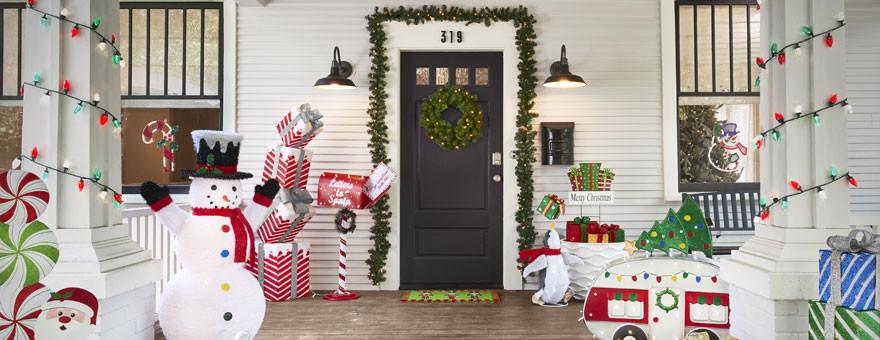 Christmas Porch Decor  Glittering Tinsel Nativity Christmas Decor Home