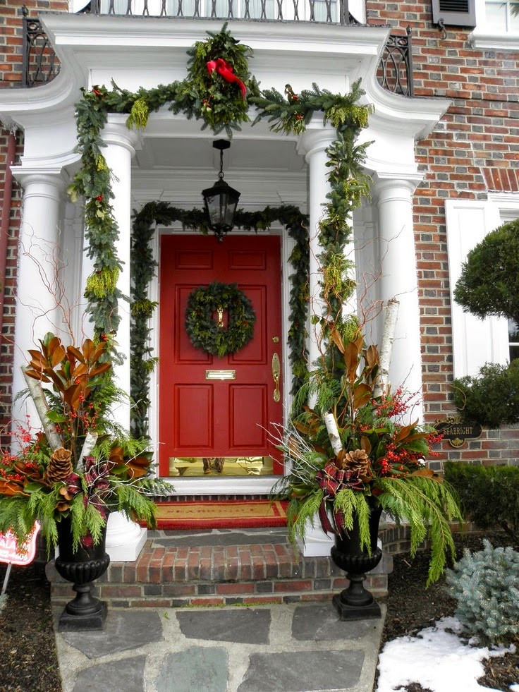 Christmas Porch Decor  Christmas Ideas 2013 Christmas Front Door Entry and Porch