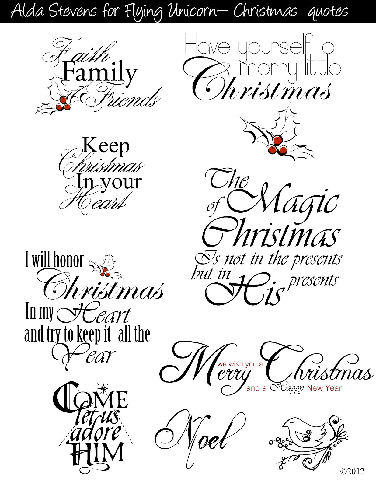 Christmas Quotes For Cards  Flying Unicorn Christmas Tags With Digi Goo s