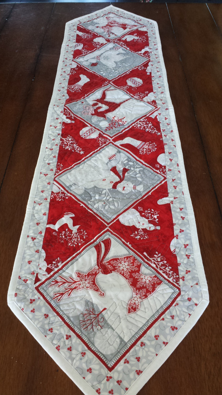 Christmas Table Runner  Red White and Silver Christmas Table Runners
