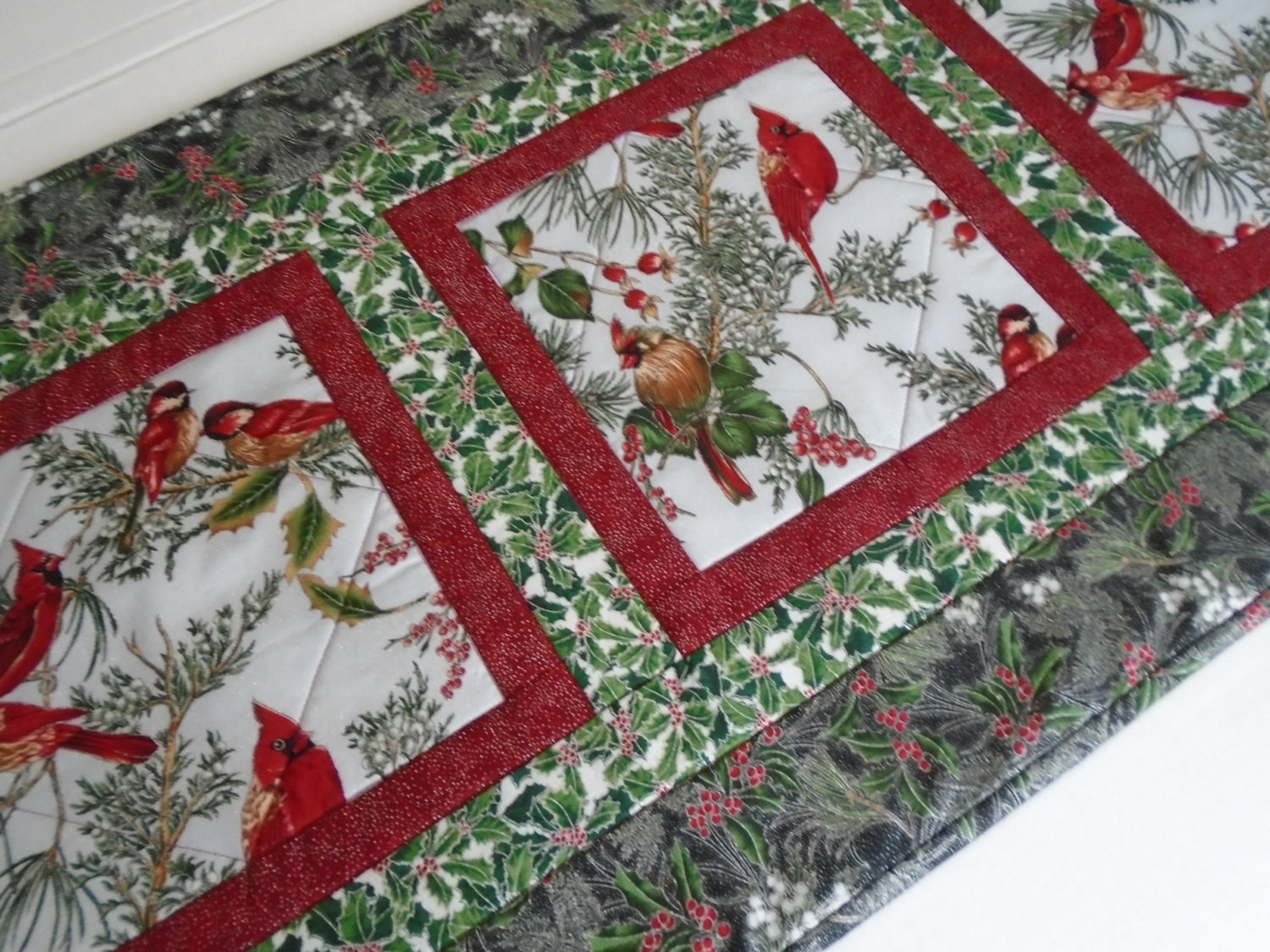 Christmas Table Runner  Winter Quilted Table Runner Christmas Quilted Table Runner
