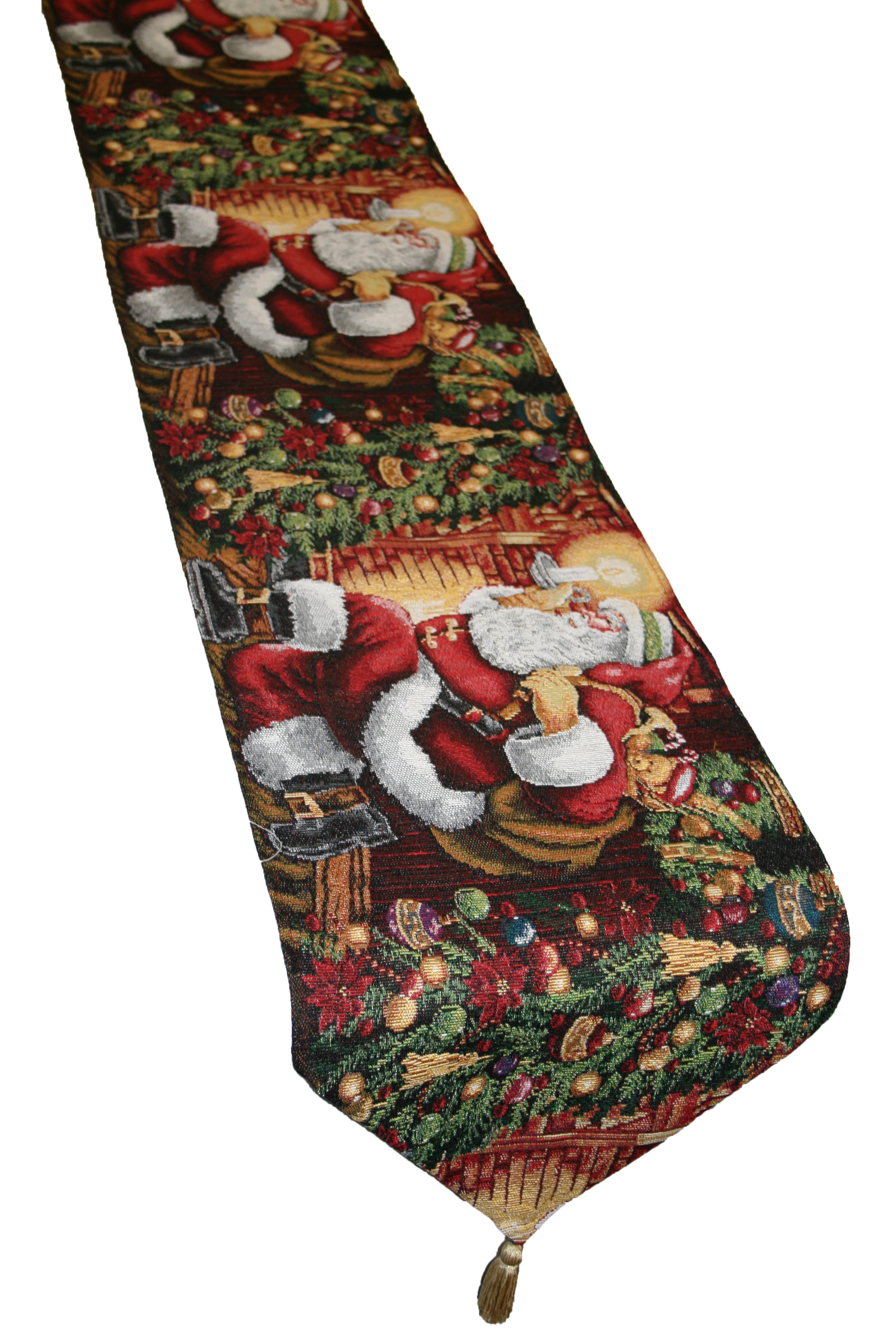 """Christmas Table Runner  Holiday Christmas Poinsettia Design 13"""" X 70"""" Table Runner"""