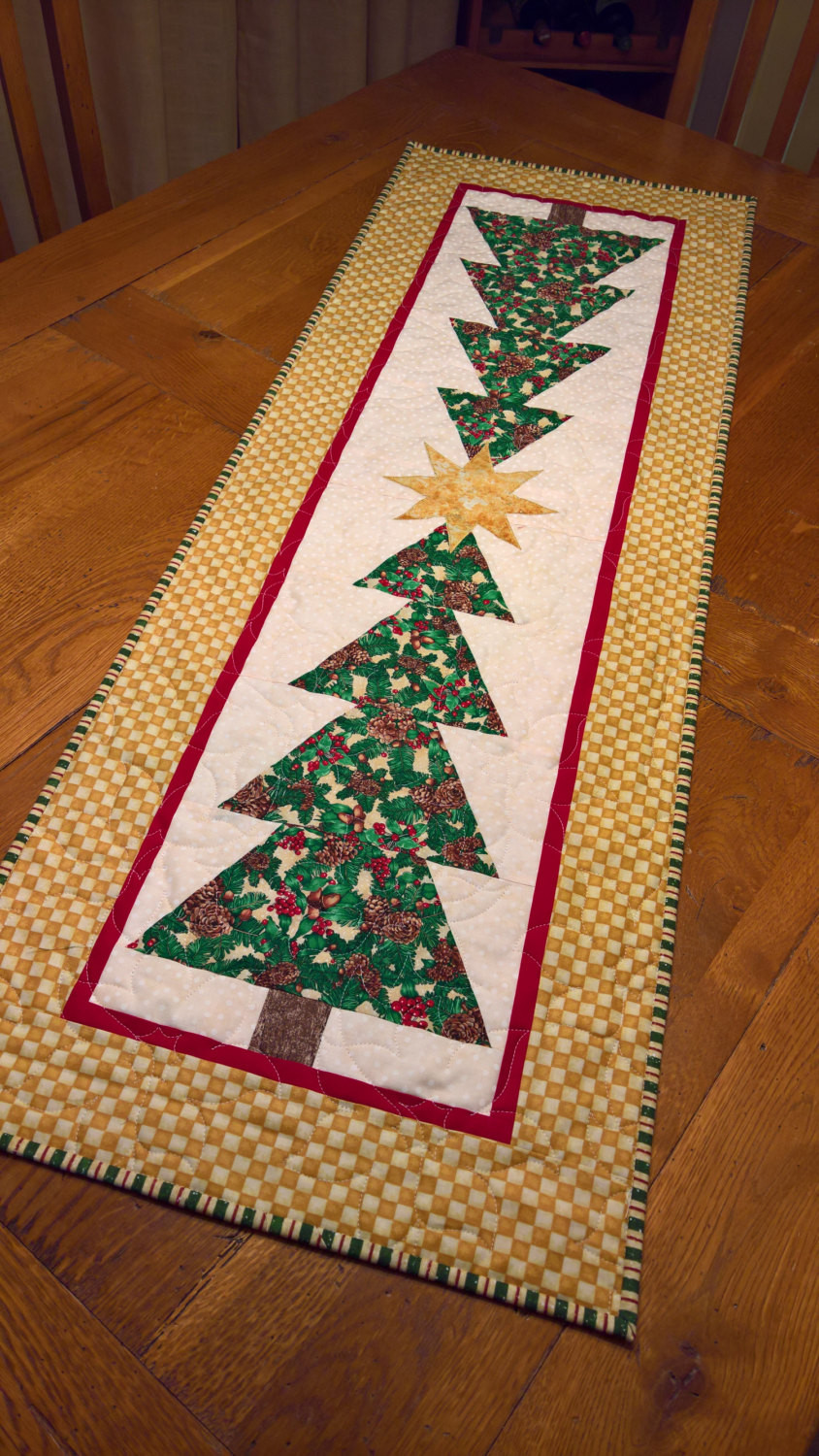 Christmas Table Runner  Christmas Trees Quilted Table Runner