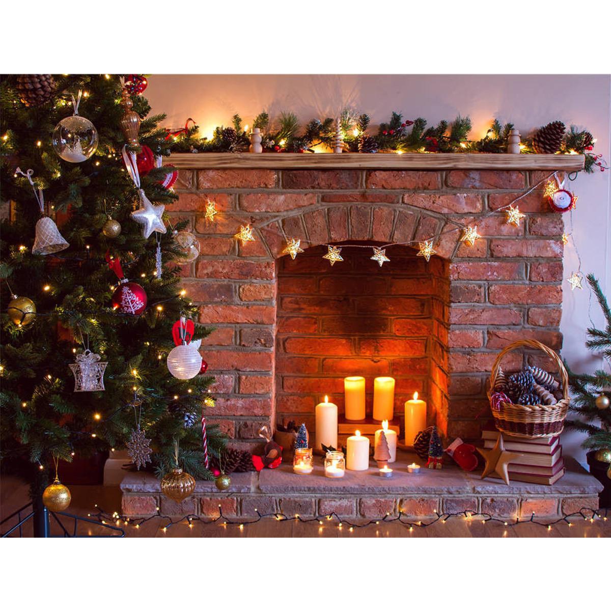 Christmas Tree By Fireplace  7x5FT Vinyl Retro Christmas Tree Fireplace graphy