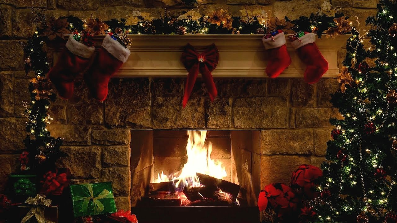 Christmas Tree By Fireplace  Christmas Fireplace Scene with Crackling Fire Sounds 6