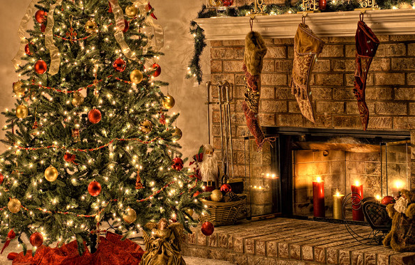 Christmas Tree By Fireplace  fireplace christmas tree ts Favim