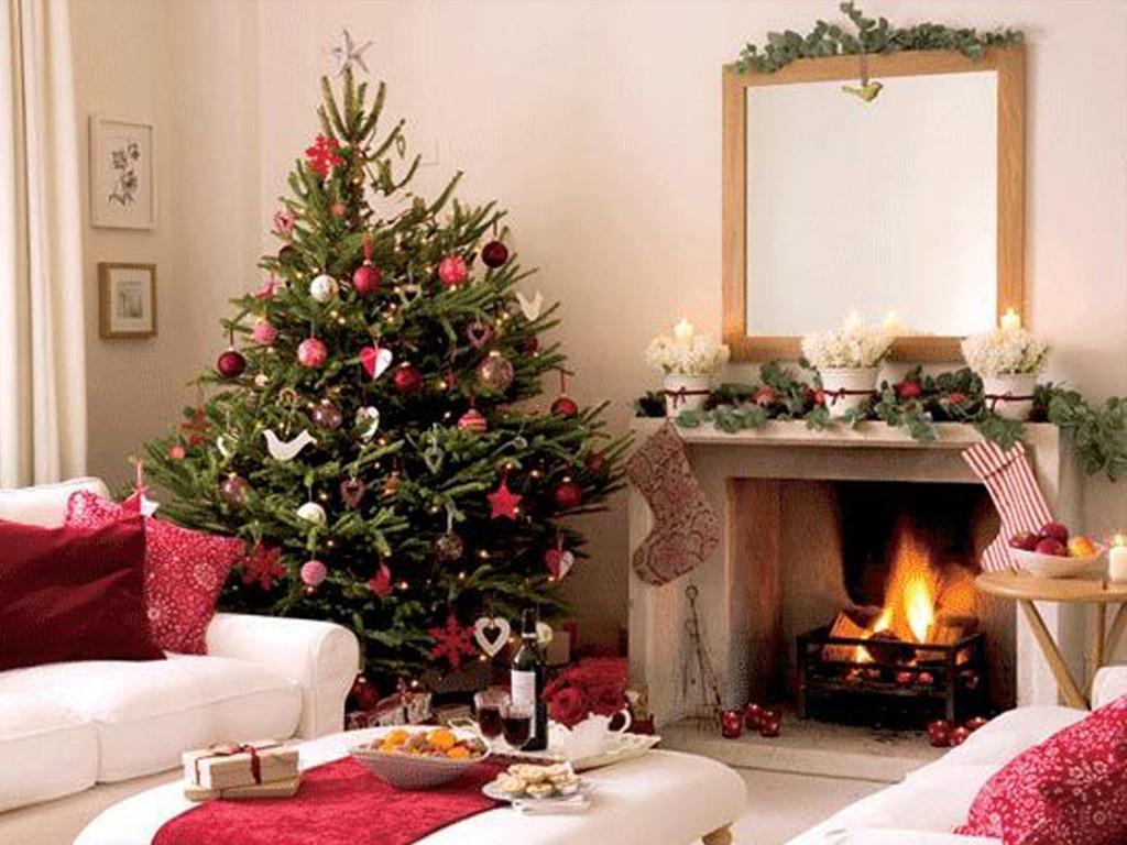 Christmas Tree By Fireplace  White Xmas