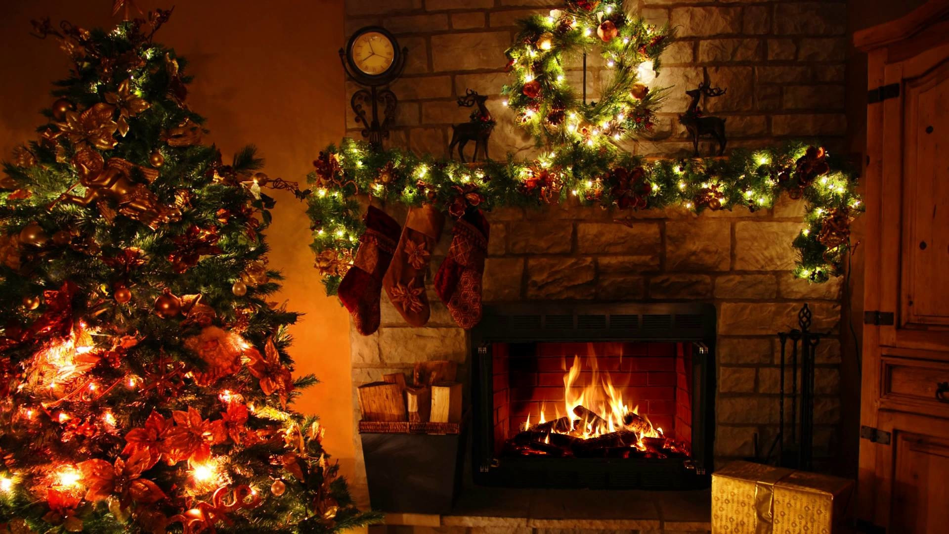 Christmas Tree By Fireplace  Christmas Fireplace Background ·① WallpaperTag
