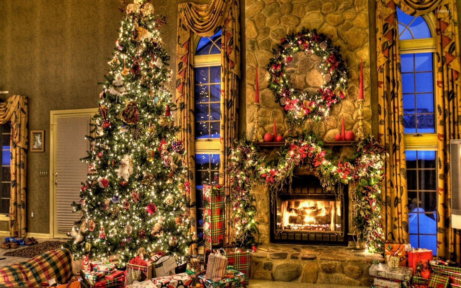 Christmas Tree By Fireplace  Christmas Fireplace Wallpaper ·① WallpaperTag