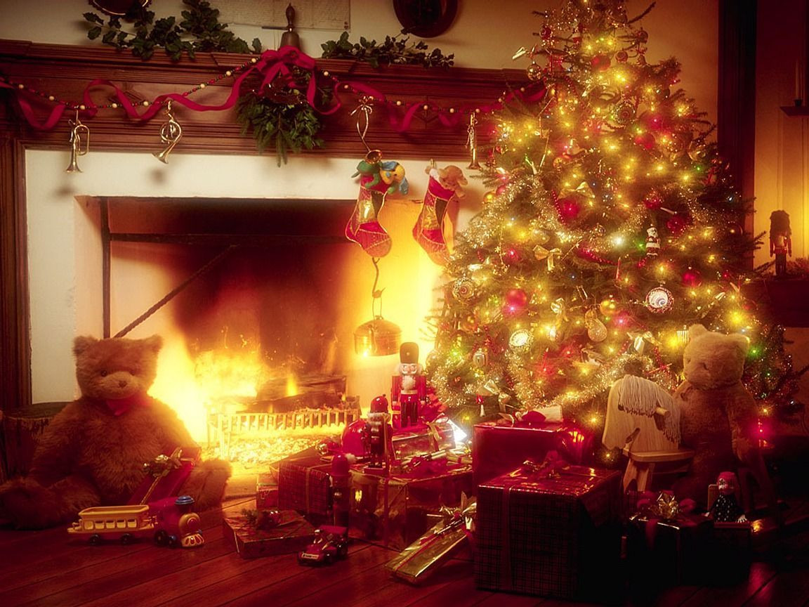Christmas Tree By Fireplace  Miscellaneous Christmas Tree And Fireplace picture nr