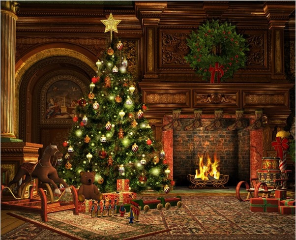 Christmas Tree By Fireplace  8x15FT Living Room Garland Carpet Rocking Horse Carpet