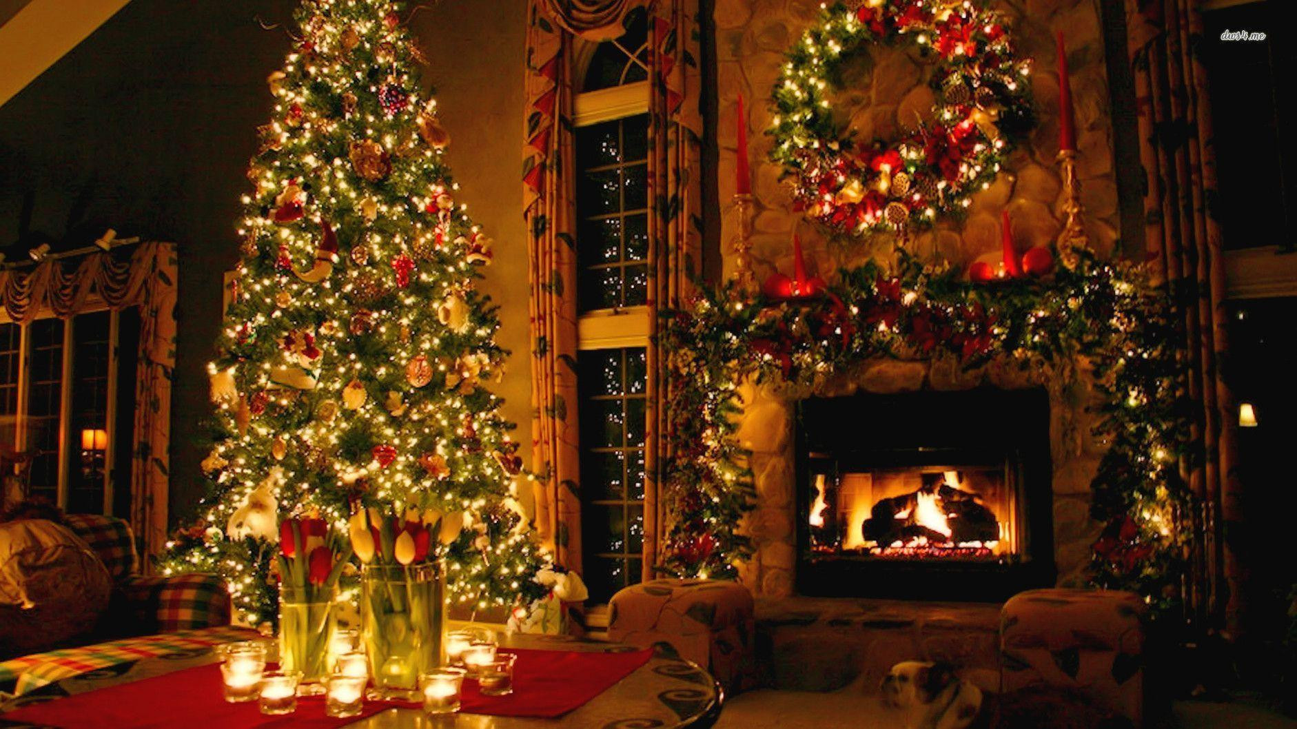 Christmas Tree By Fireplace  Christmas Fireplace Backgrounds Wallpaper Cave