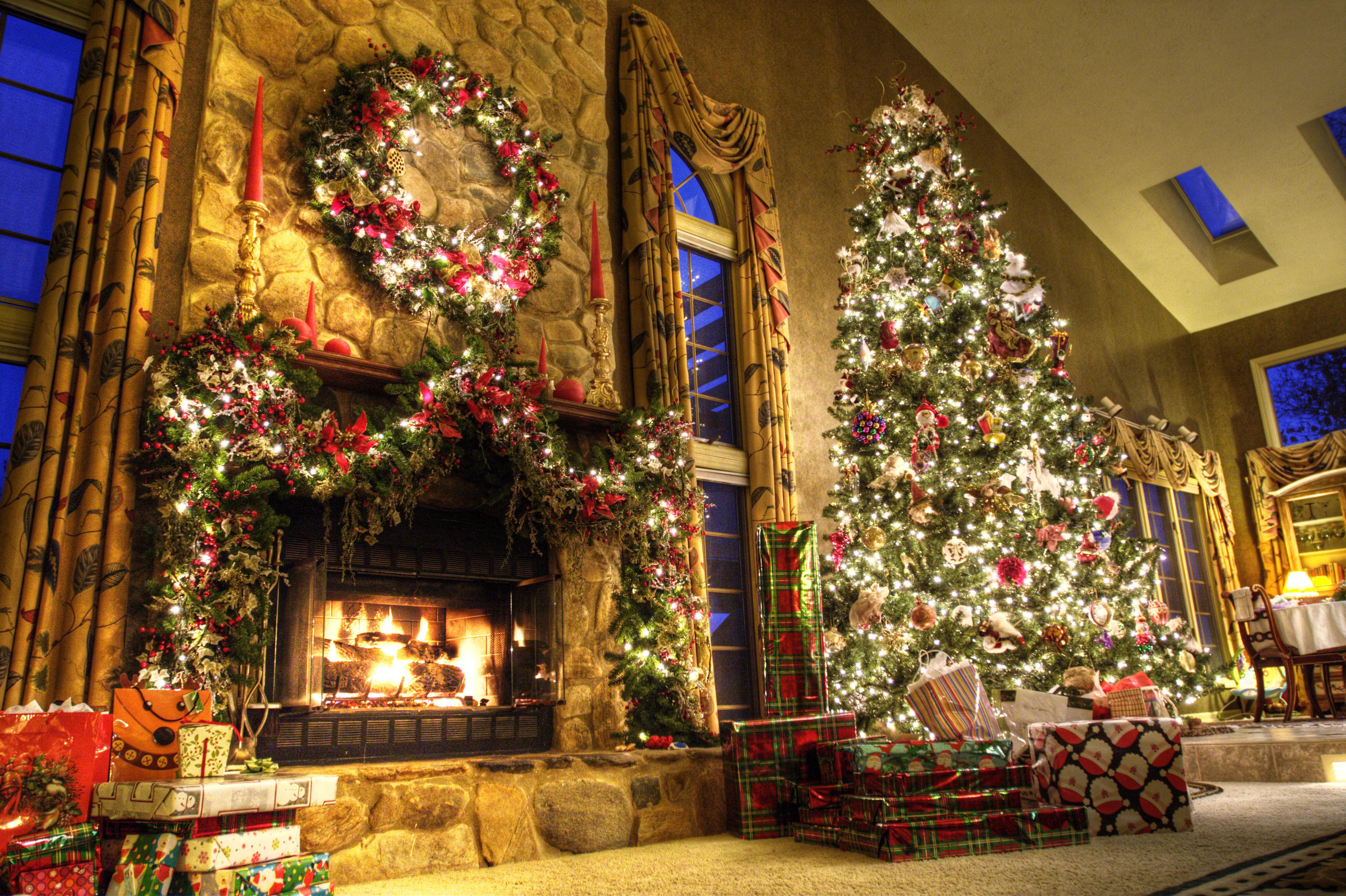 Christmas Tree By Fireplace  Toys Lights Christmas tree fireplace room Desktop
