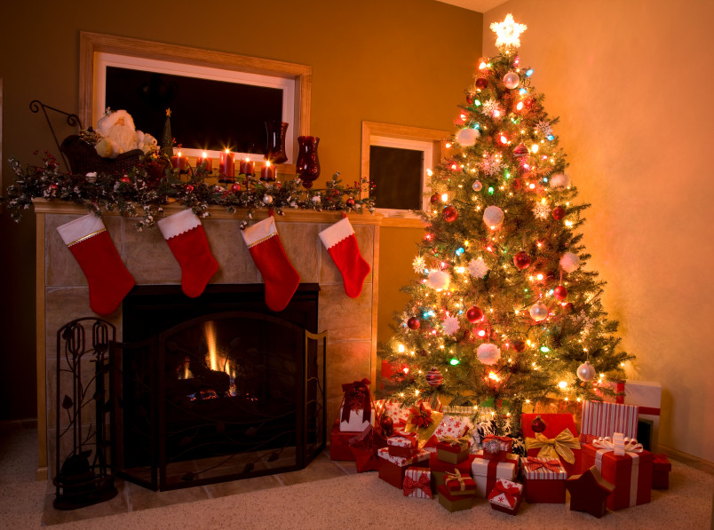 Christmas Tree By Fireplace  e Step at a Time