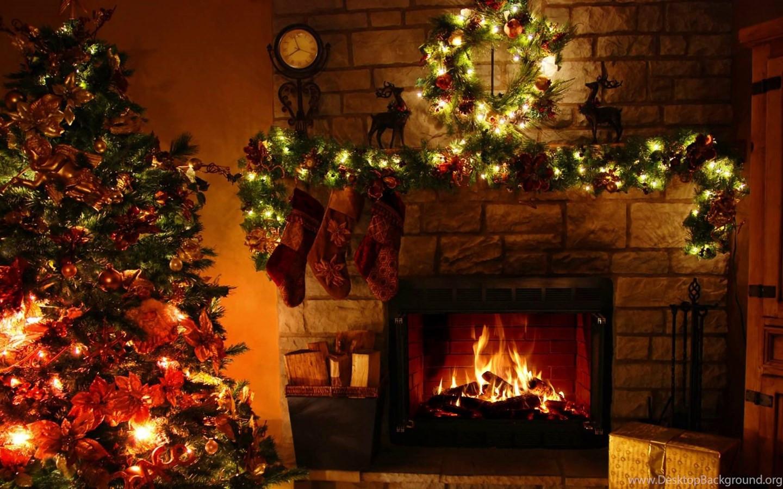 Christmas Tree By Fireplace  Christmas Tree Christmas Lights Fireplace Desktop