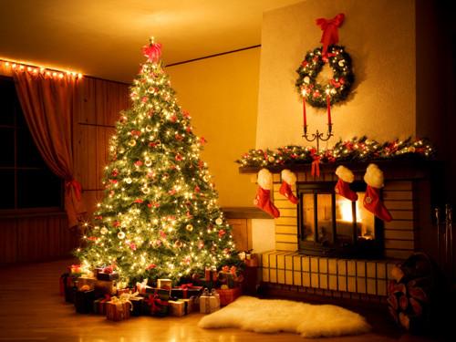 Christmas Tree By Fireplace  christmas tree fireplace stockings lights lgn