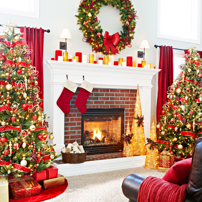 Christmas Tree By Fireplace  Inspiring Christmas Decor Ideas