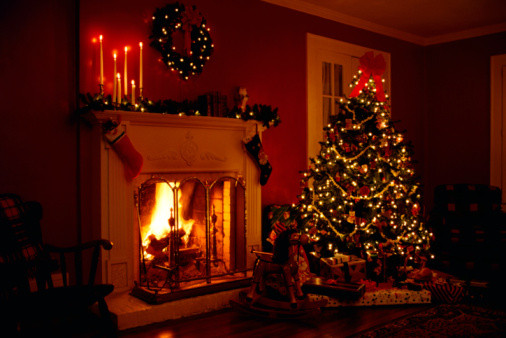 Christmas Tree By Fireplace  Plenty of smart fireplaces ideal for the condo