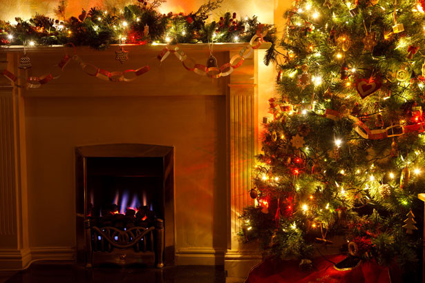 Christmas Tree By Fireplace  Christmas Tree With Fireplace Free Stock Public