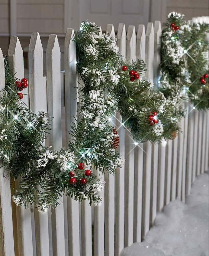 Christmas Tree Fence Indoors  Details about 9 FT LIGHTED GARLAND PORCH PATIO FENCE