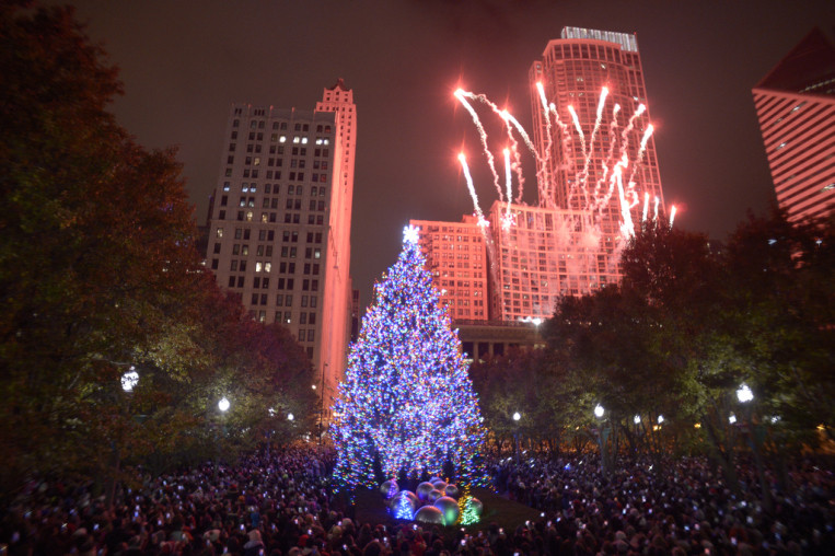 Christmas Tree Lighting Chicago 2019  Chicago Christmas tree lighting dazzles in Millennium Park
