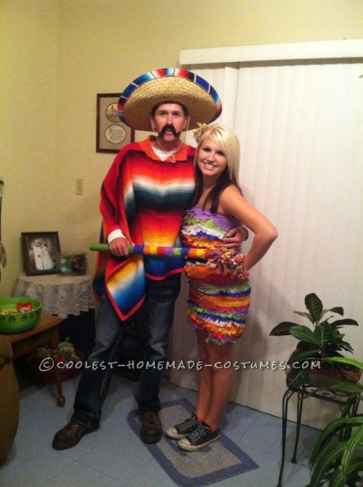 Cool DIY Halloween Costumes  Cool Hombre and Pinata Couple Halloween Costume