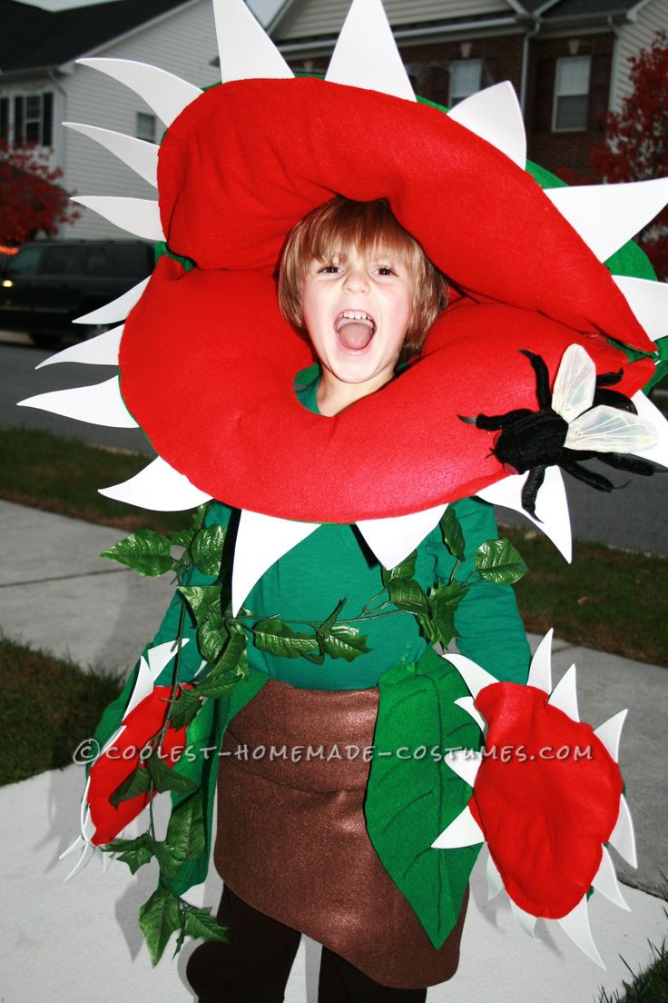 Cool DIY Halloween Costumes  Cool Homemade Venus Fly Trap Costume for a Boy