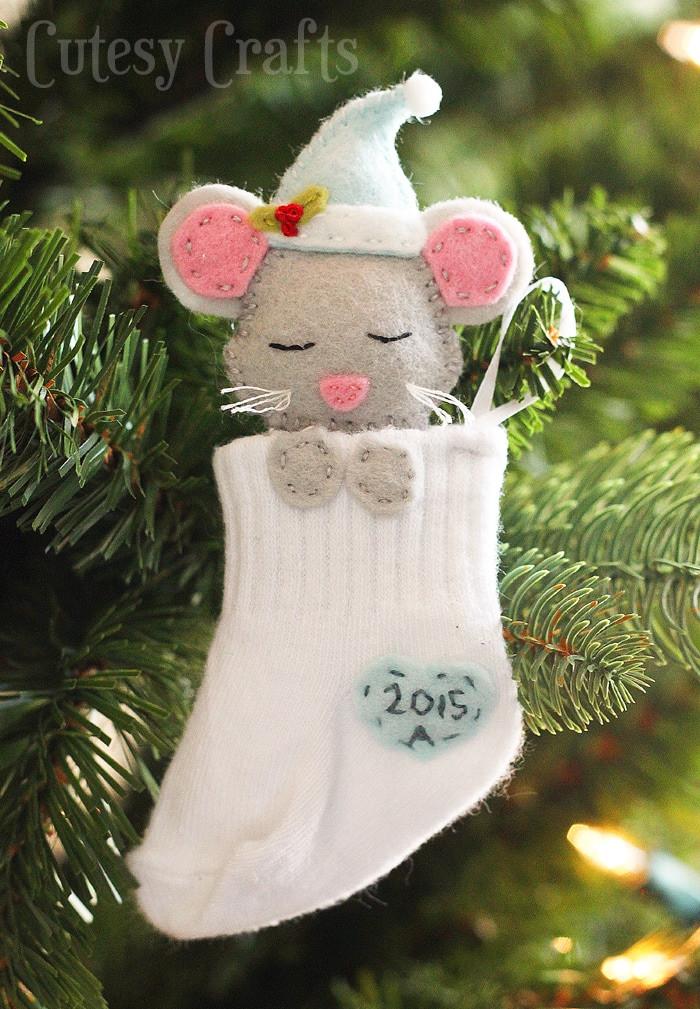 Cute DIY Christmas Decorations  Baby Sock DIY Christmas Ornaments Cutesy Crafts