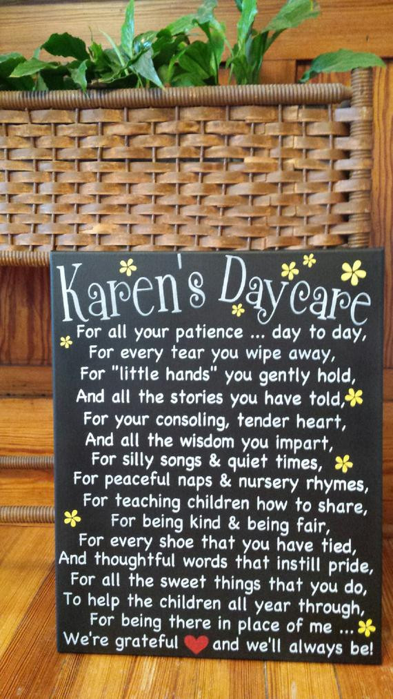 Daycare Provider Christmas Gift Ideas  DAYCARE PROVIDER s heartfelt handpainted sign to show her