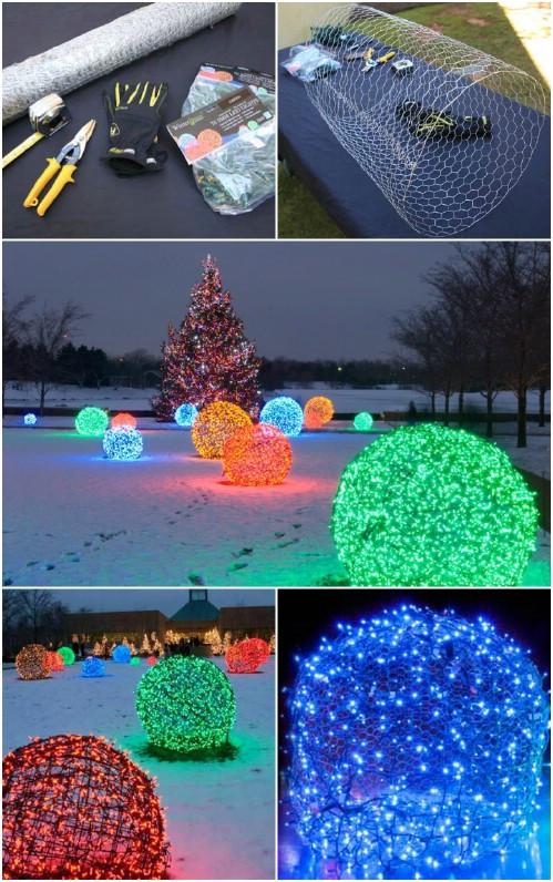 DIY Christmas Light Balls  30 Magically Festive String and Fairy Light DIYs for