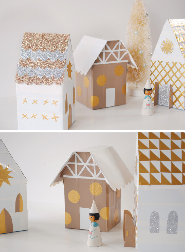 DIY Christmas Village  mer mag Christmas Village with Duct Tape and Tissue Boxes