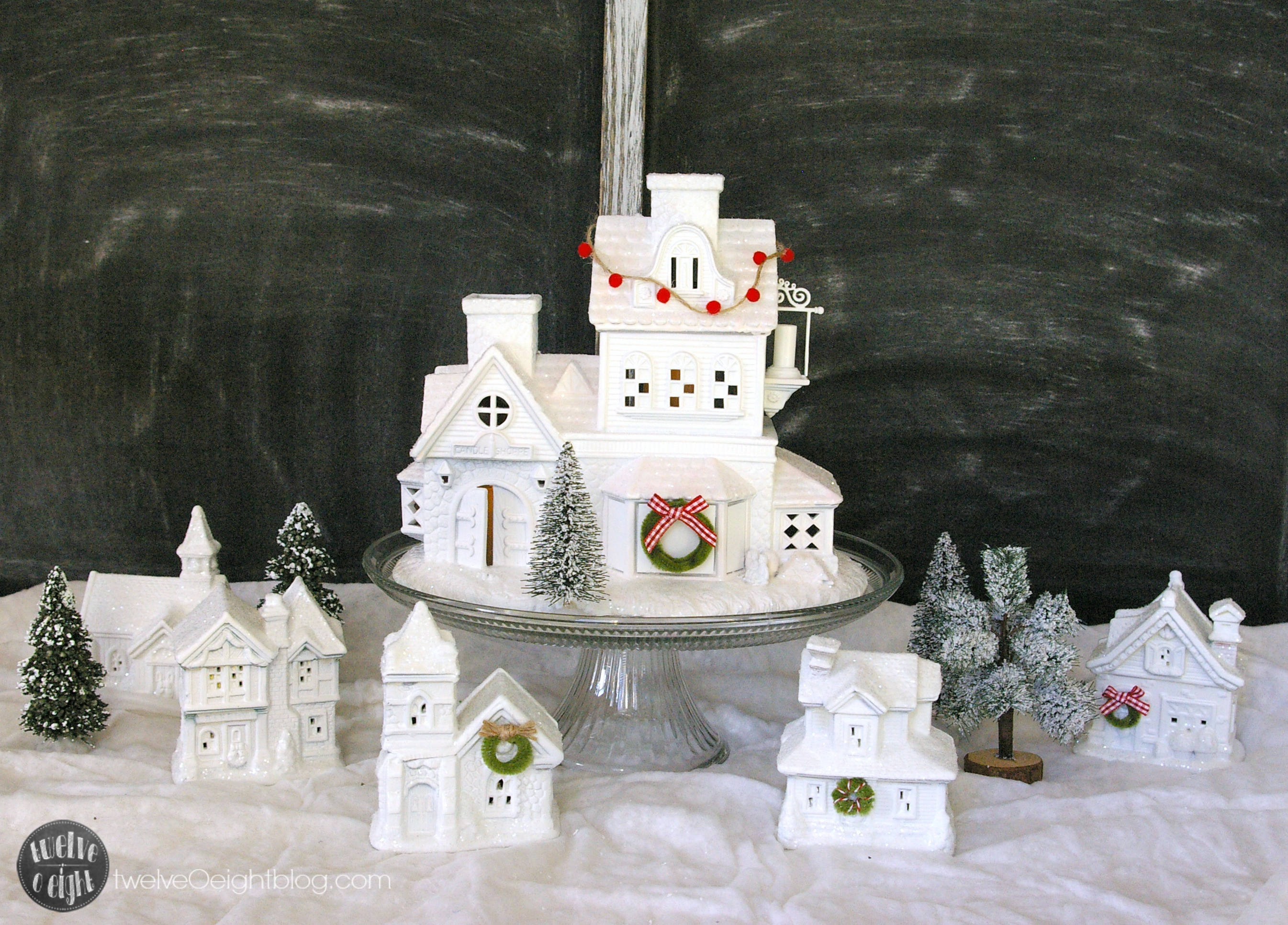 DIY Christmas Village  How to Make a Glitter House Village the easy way