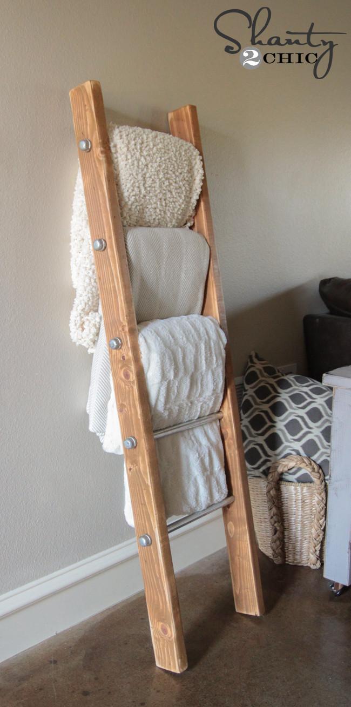 DIY Ladder Rack  DIY Wood and Metal Pipe Blanket Ladder Shanty 2 Chic