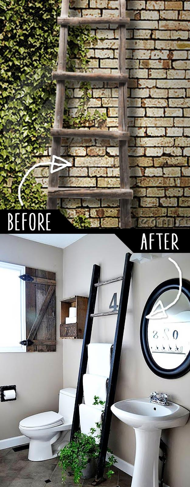DIY Ladder Rack  50 DIY Furniture Projects with Step by Step Plans DIY Crafts