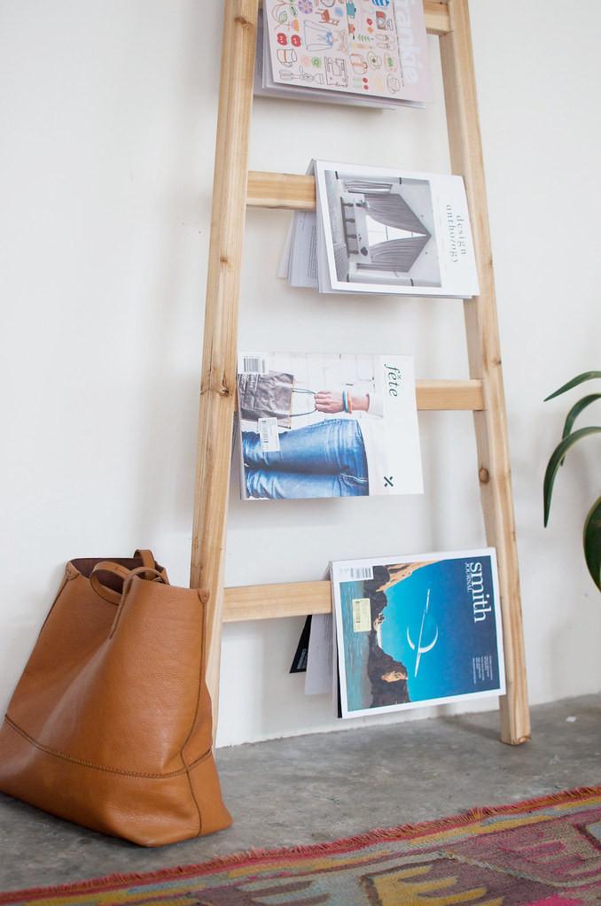 DIY Ladder Rack  Quick DIY Ladder Magazine Rack