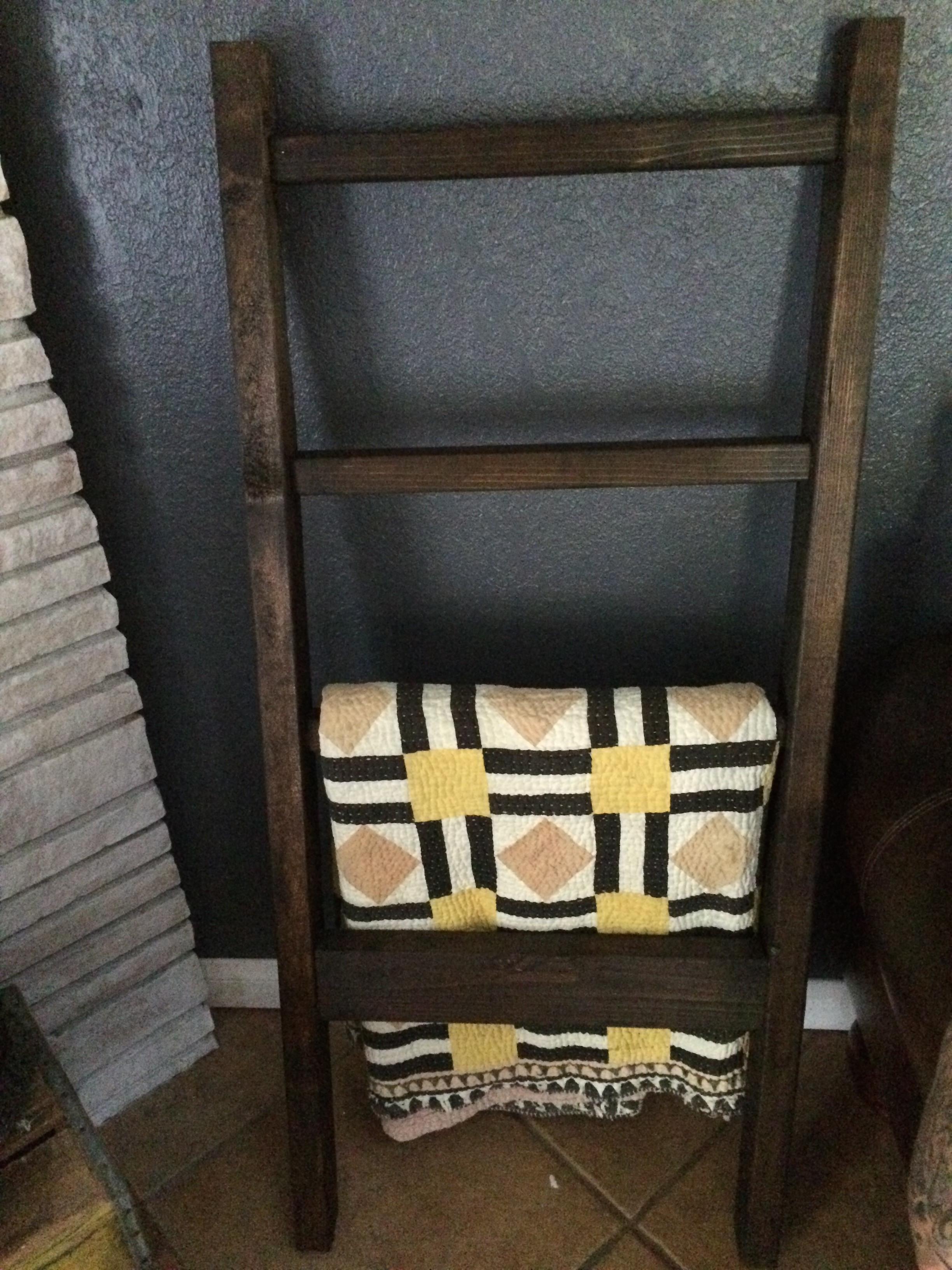 DIY Ladder Rack  Quilt Blanket Rack Easy DIY