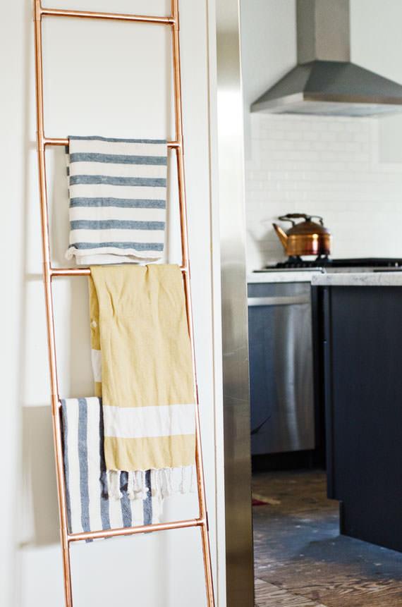 DIY Ladder Rack  10 Clever DIY Towel Racks • The Bud Decorator
